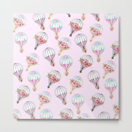 Girly pink lilac watercolor floral hot air ballons Metal Print