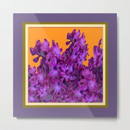 Decorative Purple Hyacinths Puce-Orange Color Art Metal Print