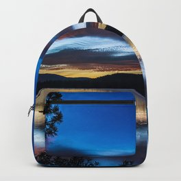 dusk, lake, pier, branches Backpack