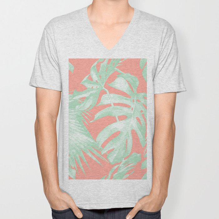 Island Love Coral Pink + Light Green Unisex V-Neck