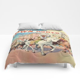 Vintage Western Town Rodeo Parade Comforters