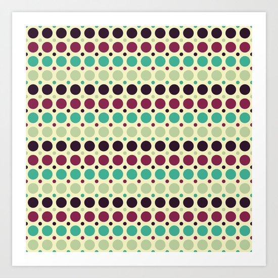 Peacock Polka Dot Pattern Art Print