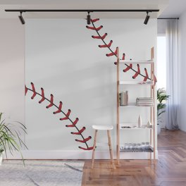 Softball Baseball design red laces Wall Mural