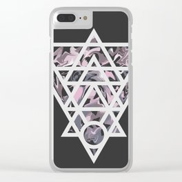 Marble and geometric design pattern Clear iPhone Case