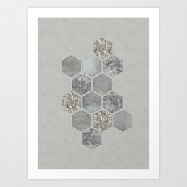 Grey Elegant Hexagon Art Print