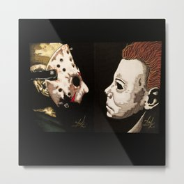 Jason VS Michael Metal Print