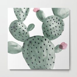 Cactus Cacti Botanical Watercolor Metal Print