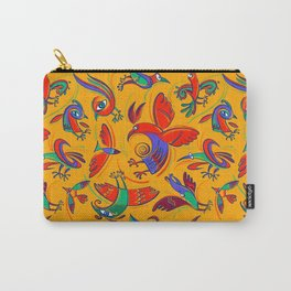 Pattern with Firebirds (on yellow background) Carry-All Pouch