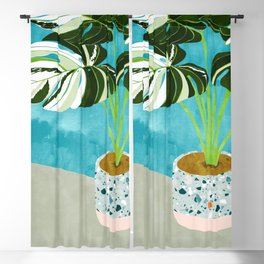 Variegated Monstera #tropical #painting #nature Blackout Curtain