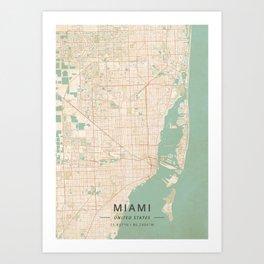 Miami, United States - Vintage Map Kunstdrucke