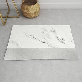 White Marble with Black and Grey Silver Stripe Rug