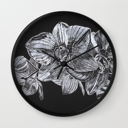 Silver Orchid Wall Clock