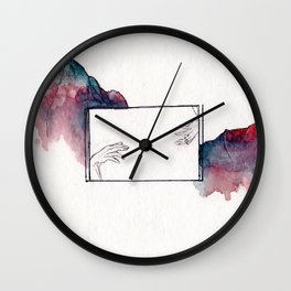 Reaching Hands and Mountains Wall Clock