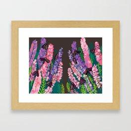 Six-spot burnet and heather Framed Art Print