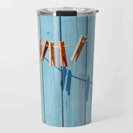 Minimalism clothesline with clips Travel Mug