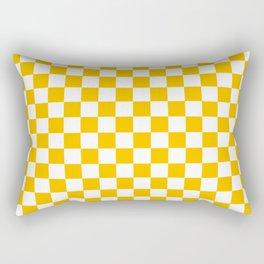 White and Amber Orange Checkerboard Rectangular Pillow