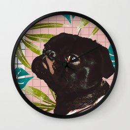 Pug on an Island Wall Clock