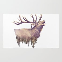 Elk and Forest. Watercolor Double Exposure effect on white background Rug