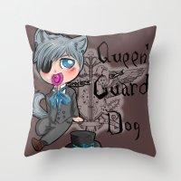 kuroshitsuji Throw Pillows featuring The guard dog of the queen - Chibi by Furiarossa