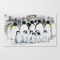 penguins Canvas Prints featuring penguins by Katja Main