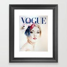 Vogue Magazine Cover. Hat by Ella Gajewska. Fashion Illustration Framed Art Print