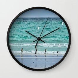 Falkland Island Seascape with Penguins Wall Clock