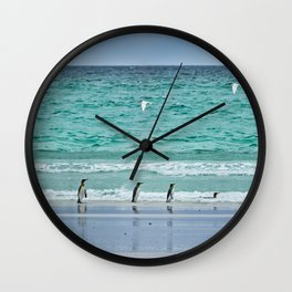 Falkland Island Seascape with Penguins Wall Clock