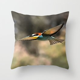 Bee Eater In Flight Realistic Artwork Throw Pillow