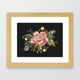 Pink Wild Rose Bouquet on Charcoal Framed Art Print