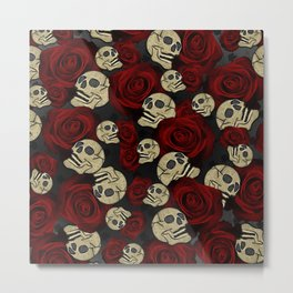 Red Roses & Skulls Grey Black Floral Gothic Metal Print