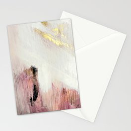 Sunrise [2]: a bright, colorful abstract piece in pink, gold, black,and white Stationery Cards