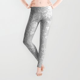 Beautiful Gray & White Floral Lace Pattern Leggings