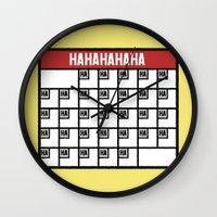 calendar Wall Clocks featuring The Laughing Calendar by Josh LaFayette