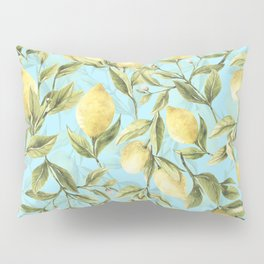 mediterranean summer lemon branches on turquoise Pillow Sham