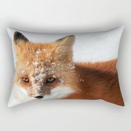 Snowy Faced Cheeky Fox with Tongue Out Rectangular Pillow