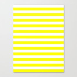 Narrow Horizontal Stripes - White and Yellow Canvas Print