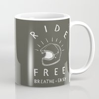 grease Mugs featuring breathe easy by The Junkers