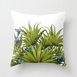 """El Bosco fantasy, tropical island blue butterflies 02"" Throw Pillow"