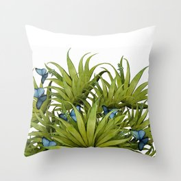 """El Bosco fantasy, tropical island blue butterflies 02"" Throw Pillow"