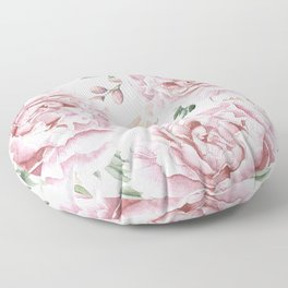 Girly Pastel Pink Roses Garden Floor Pillow