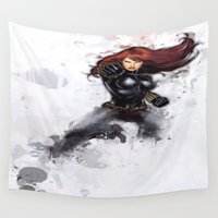 black widow Wall Tapestries featuring Black Widow by Isaak_Rodriguez