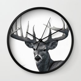 The Majestic Trophy Buck - Deer Graphite Pencil Drawing - by Julio Lucas Wall Clock
