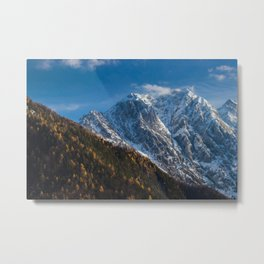 Autumn and winter at snowy mountains Metal Print