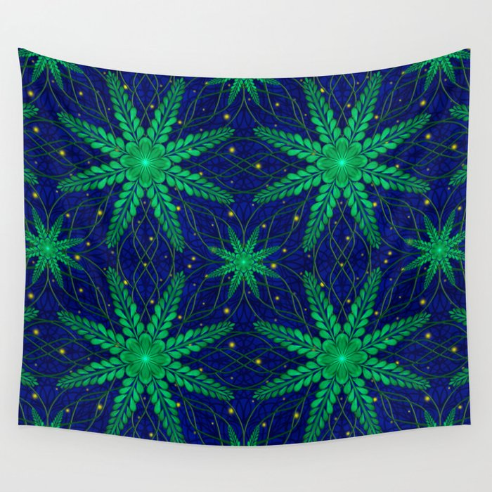 Web of Leaves and Light Wall Tapestry