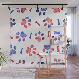 Doodle blue and red paw prints and bones seamless pattern Wall Mural