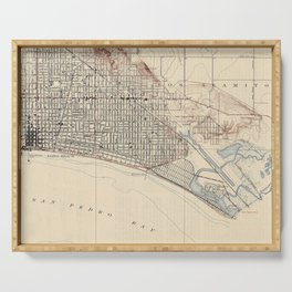 Vintage Map of Long Beach California (1923) Serving Tray