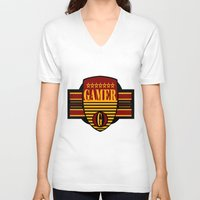gamer V-neck T-shirts featuring GAMER by Robleedesigns