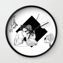 Hat for love - Ink artwork Wall Clock