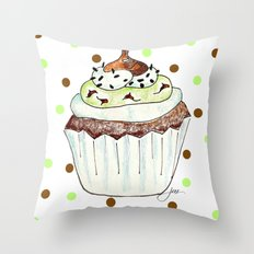 Chocolate Mint Cupcake Throw Pillow