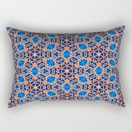 Blue and Gold Beadwork Inspired Print Rectangular Pillow